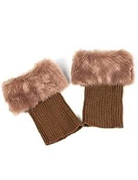 One Size , Khaki : Bodhi2000® Women Faux Fur Trim Winter Warm Leg Warmers Boot Crochet Short Socks