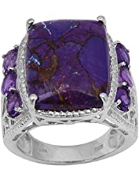 Shine Jewel Turquesa púrpura y Amatista Piedra Boda Hombres Anillo 925 Joyas de Plata