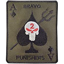 Olive Drab OD Seal Team Two Bravo Punishers Crâne Ace of Spades Embroidered Attache-boucle Écusson Patch