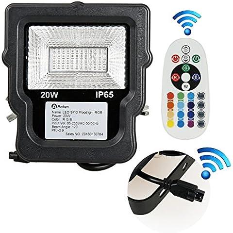 GOGO Go faretto LED RGB esterno con telecomando sostituisce 20W 100W proiettore 80% di risparmio energetico impermeabile RGB piantana farbwechselhafte LED–luce di sicurezza LED–faro LED außenleuchten, Alluminio, 1 pezzo 20.00 wattsW 240.00 voltsV