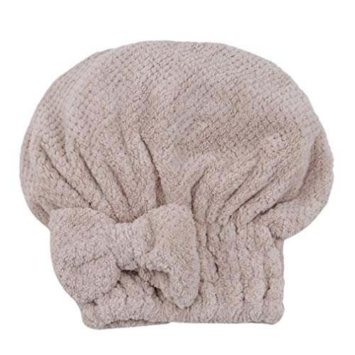 LLZIYAN Bogen-saugfähiges schnelles trockenes Haar-Kappen-nettes weiches Haar-Turban-Handtuch Wickeln Badezimmer-Duschhaube, Beige EIN