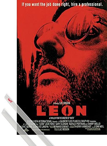 1art1 Poster + Hanger: Leon - Der Profi Poster (98x68 cm) The Professional - If You Want The Job Right Done Inklusive EIN Paar Posterleisten, Transparent