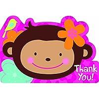 Amscan International Postcard Thank You Monkey Love