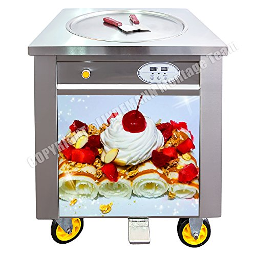 Professionelle Softeismaschine Gebratenes Eis Roll-Eis Eismaschine mit Kompressor und eine Gefrierplatte Ø50cm