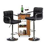 Relaxdays Barhocker 2er Set, höhenverstellbar, drehbar, mit Lehne, Kunstleder, Metall, HxBxT: 115 x 53 x 43 cm, schwarz