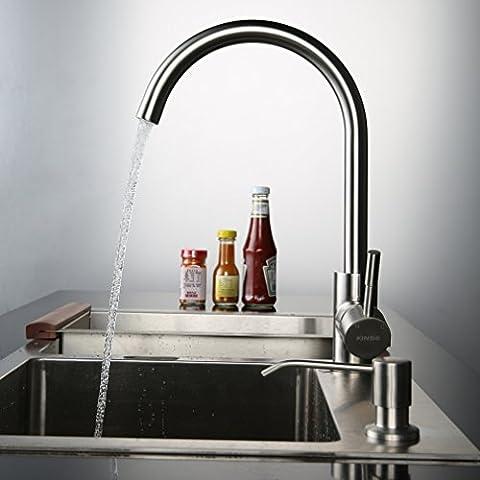 Kinse® 2 Jahre Garantie Gebürstet Silber Küchearmatur Mischbatterie Spültischarmatur 360°Drehbar aus Edelstahl SUS304 mit ABS Bubbler Kann Wasser 30% Sparen für Küche (Bewertung Wasser)