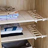 APSOONSELL ausziehbar verstellbar Aufbewahrung Rack Regal für Küche Schrank Regal Kühlschrank Kleiderschrank Bücherregal, Ohne Bohren Oder Schrauben (Beige,Breite: 30cm, Länge: 53-90cm)