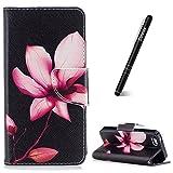 Slynmax Coque iPhone 5/5S/SE, Étui en PU Cuir Lotus Motif Peint Mode Housse Portefeuille Case de Protection Magnétique avec Emplacement de Cartes Fonction de Support pour iPhone 5/5S/SE