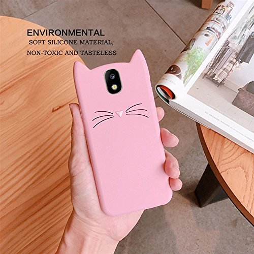 Silicone Protective Case for Samsung J5 2017   J530 EU Version  SevenPanda Samsung Galaxy J5 2017 TPU Silicone 3D Cartoon Fashion Cute Beard Lovely Cat Soft Back Case Cover with Anti-scratch Shock-absorbing Phone Protective Bag Shell Bumper - Pink