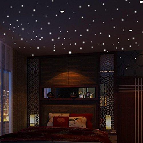 Preisvergleich Produktbild DOLDOA Wandtattoo,Wandsticker Leuchtaufkleber für Kinderzimmer und Schlafzimmer (407 pcs - 15*15mm,10*10mm,5*5mm, Grün - Runde Punkt)