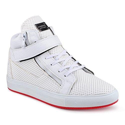 schuhe High Top Sneaker Genoppt Reißverschluss Basketballschuhe Nieten Freizeitschuhe Schuhe Weiss EU 41 (Supra Schuhe Classic)