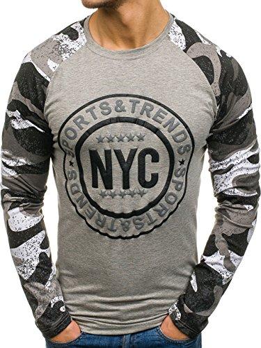 BOLF Herren Longsleeve Langarmshirt mit Rundhalsausschnitt Sweatshirt Pullover Motiv J.Style SX017 Grau XXL [1A1]