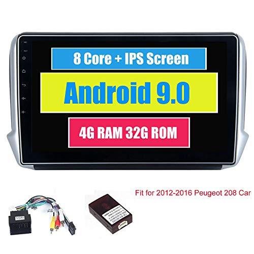 Roverone 10,2 Pouces Android 8.0 Octa Core pour Peugeot 208 2008 2012-2016 Autoradio avec système GPS de Navigation Radio stéréo Bluetooth Mirror Link Full écran Tactile