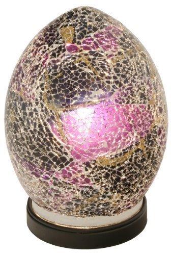 Mosaic Egg Lamp, Glass, Purple, Mini