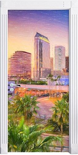 Skyline in den USA Kunst Buntstift Effekt als Türtapete, Format: 200x90cm, Türbild, Türaufkleber,...