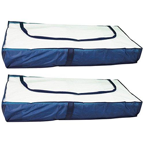 COM-FOUR® 2x Unterbettkommode in blau mit Reißverschluss und Haltegriffen, 103 x 45 x16 cm (02 Stück - blau)