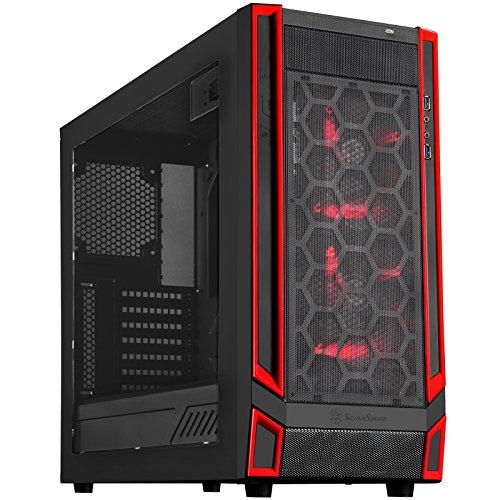 SilverStone SST-RL05BR-W - Carcasa de ordenador para juego Red Line Midi Torre ATX, Rendimiento silencioso con alto flujo de aire, negro
