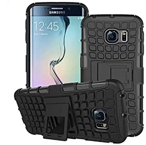 Rapid Zone Kick Stand Spider Hard Dual Rugged Armor Hybrid Bumper Back Case Cover for Samsung Galaxy S6 Edge Plus - Black