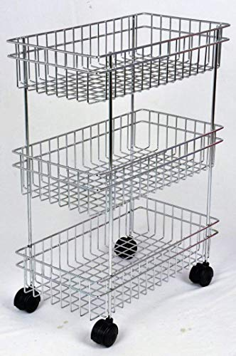 DHAVL Stainless Steel 3-Tier Fruits & Vegetable Trolley/Basket Holder Stand for Kitchen Potato Onion Storage Rack