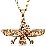 Groß Doppelseitig Gold PT faravahar Halskette Kette iranischen Persischen Geschenk, gold, Large