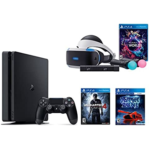 PlayStation VR Launch Bundle 3 Items:VR Launch Bundle,PlayStation 4 Slim 500GB Console - Uncharted 4,VR Game Disc PSVR Battlezone(Versión EE.UU.,