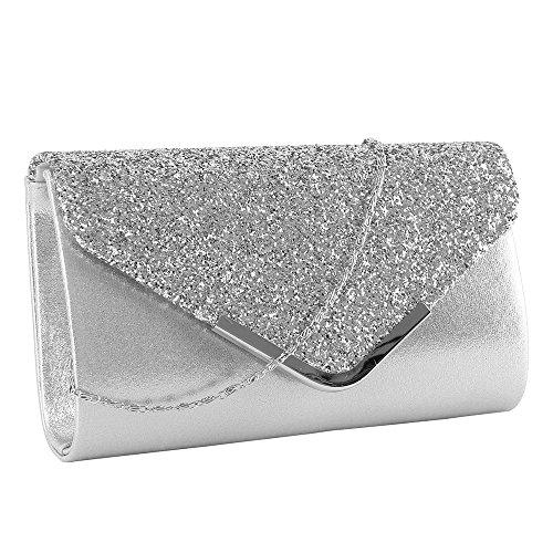 elfishjp Damen Clutch Glitzer Elegant Abendtasche Glänzend Handtasche in Gold, Silber, Pink