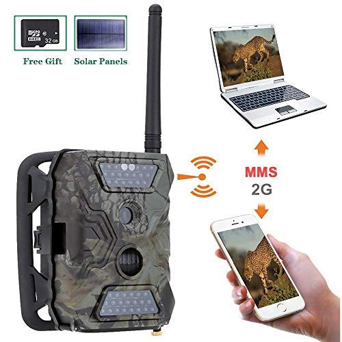 S680M 2G Wildkamera Fotofalle 12MP 1080P mit Handy übertragung, Jagdkamera GSM GPRS 40 Pcs Low-Glow 940nm IR-LEDs, Infrarot-Nachtsicht 20m, IP54 wasserdichte mit SD-Karte und Solar Panels