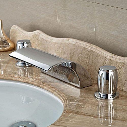 Dual Griff Wasserfall Badewanne Mischbatterie Set Deck Mount Badezimmer Badewanne Becken Waschbecken Wasserhahn Chrom-Finish von Mag.AL,H