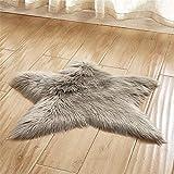 Trayosin Weiches Kunstfell Stern Form Teppich Badteppich Plüsch Kinderteppich für Schlafzimmer Wohnzimmer (Grau)