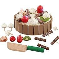 Atommy Juguetes de cocina de madera para niños Mini pastel de música magnética cortada invisible Niños cortan música juguetes de bebé