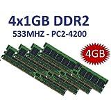 4GB Dual Channel Kit 4 x 1 GB 240 pin DDR2-533 (533Mhz, PC2-4200U, CL4) NON ECC, unbuffered für DDR2 Mainboards - 100% kompatibel zu 400Mhz, PC2-3200U, CL3