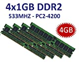 4GB Dual Channel Kit 4 x 1 GB 240 pin DDR2-533 (533Mhz, PC2-4200U, CL4) NON ECC, unbuffered für DDR2 Mainboards - 100%