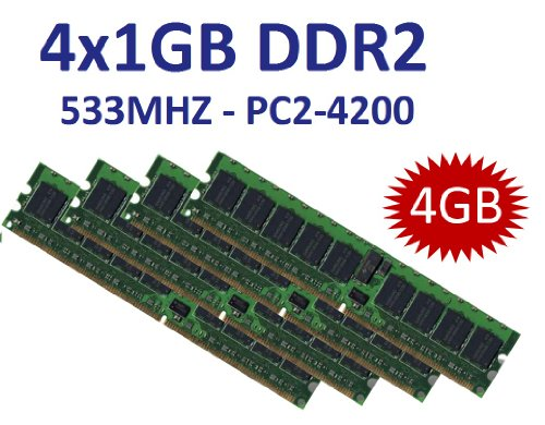 4GB Dual Channel Kit 4 x 1 GB 240 pin DDR2-533 (533Mhz, PC2-4200U, CL4) NON ECC, unbuffered für DDR2 Mainboards - 100% kompatibel zu 400Mhz, PC2-3200U, CL3 - Pc2-3200 Dual Channel