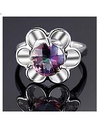 Sunflower Natural Rainbow Wedding Ring For Women(Size-UK-O)