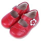 Mädchen Mary Jane Kinder Leder Ballerinas Prinzessin Geschlossene Sandalen Halbschuhe Baby Anti-Rutsch Lauflernschuhe Schwarz Rot