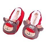 Donne Pantofole interne calde del cotone Soft Peluche di Natale (A, Formato libero)