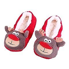 Idea Regalo - Donne Pantofole interne calde del cotone Soft Peluche di Natale (A, Formato libero)