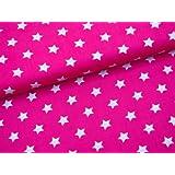 0,5m Stoff Sterne groß in pink/ weiß Motivgröße 2cm
