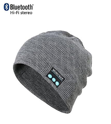 CoCo Fashion drahtlose Bluetooth-Mütze mit Musik phone Freisprech -Stereo-Kopfhörer-Kopfhörer-Lautsprecher-Mikrofon für Fitness Outdoor Sport Wandern Weihnachtsgeschenke (Einheitsgröße, (Earflap Knit Cap)