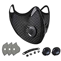 Kueh Outdoor Sports Anti Dust Mask Mouth Windproof Warmth Face Mask with Air Pollution Filter for Bicycle Motorcycle Riding Ski Ice Fishing Cross Country Hunting-Activated Charcoal Filter
