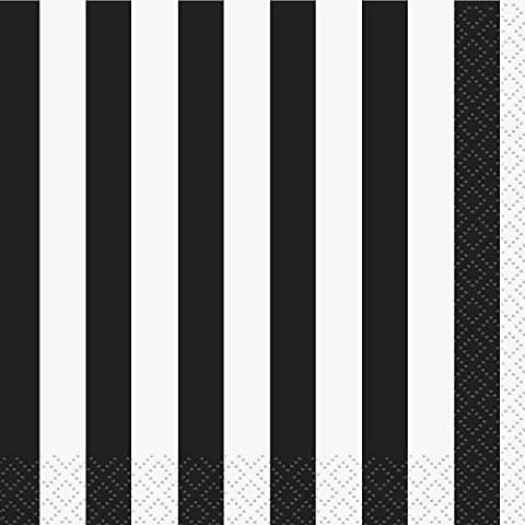 Unique Party - 38051 - Paquet de 16 Serviettes - Papier - Motif Rayé - 13 cm - Noir