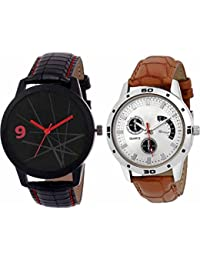 Kairos Analogue Round Dial Leather Strap Combo Wrist Watches - For Men
