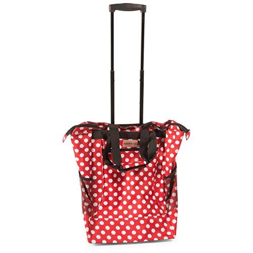 Einkaufstasche und Einkaufstrolley in einer Funktion, rot mit weißen Punkten