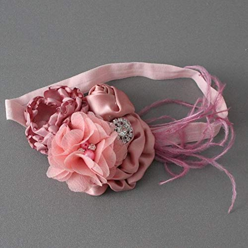 Kfang-headbands, Boutique Burn Flower Stirnband für Frauen Fleck Stoff Rose Flower Stirnband mit Strass (Color : 01)