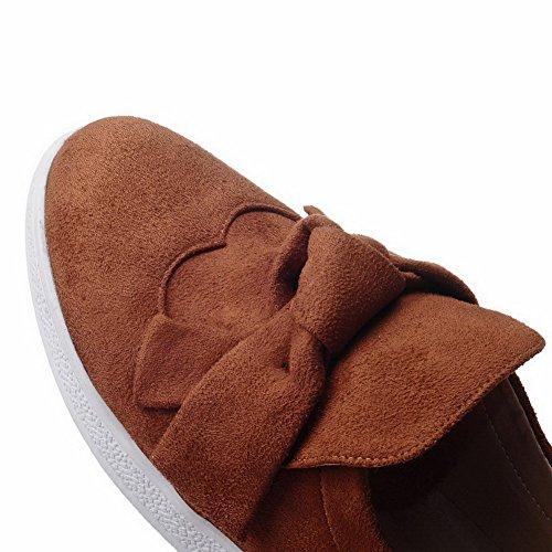 VogueZone009 Femme à Talon Bas Couleur Unie Tire Dépolissement Rond Chaussures Légeres Jaune