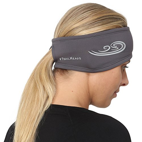 TrailHeads Women's Ponytail Headband | Moisture Wicking Ear Band | The Power Running Headband - cold smoke grey/reflective silver