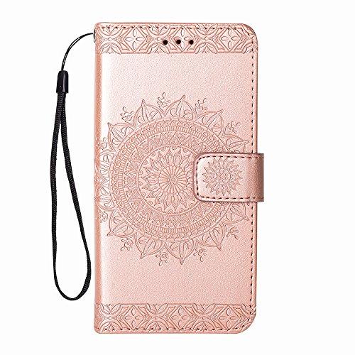 ZCRO Leder Hülle für Samsung Galaxy S6 Hülle Schutzhülle Handyhülle Klapphülle Flip Case Cover Leder Tasche Elegant mit Magnet Kartenfach Lederhüllen Handytasche für Samsung Galaxy S6 (Rose Gold)