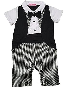 Lexikind Baby Strampler Smoking für Jungen: Anzug mit Fliege für Kleinkinder