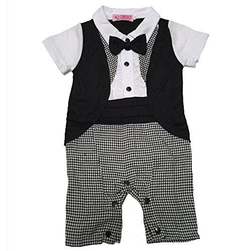Lexikind Baby Strampler Smoking für Jungen - Anzug mit Fliege (80, Abendgarderobe)