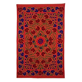 Suzani Usbekische Baumwolle Hand bestickt Indian Twin Bed Sheet Cover Tagesdecke